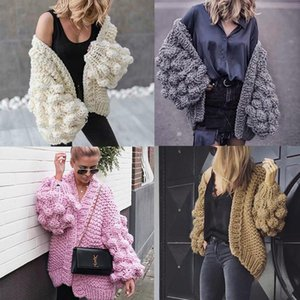 Famous designer ladies sweater solid color lantern sleeves handmade large thick needle grape ball knitted cardigan jacket