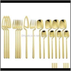 المطبخ، شريط الطعام الرئيسية garden16pc / مجموعة السكاكين مجموعة الفولاذ المقاوم للصدأ شنقا أدوات المائدة الصواني الذهبي سكاكين ملاعق ملعقة صغيرة