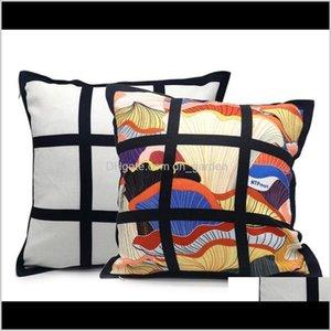 Bedding Supplies Textiles & Garden Drop Delivery 2021 Blank Sublimation Pillow Case Black Grid Heat Transfer Throw Cushion Cover Home Sofa Pi