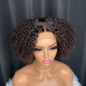 Wholesale black fluffy afro raw virgin human hair Indian Chinese kinky curly 4b wavy 4x4 lace closure wig 8 inch for women
