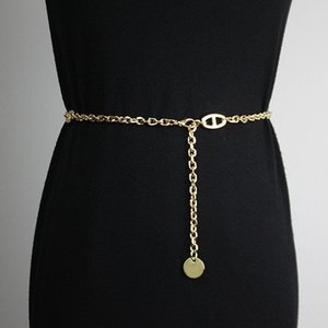 Belts Waist Chain Pig Nose Buckle Accessories Women With Skirt Fine Metal H-buckle Belt Decoration Seal Simple