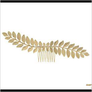 Greece Gold Alloy Leaf Comb Wedding Girls Party Accessories Greek Hairpins Hair Clip Headpiece Jewelry Kijtw Fsj5P