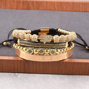 4pcs set Luxury Jewelry Zircon Hip Hop Bracelets Men Cubic Micro Pave CZ Charm Braided Braiding Pulseira