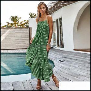 Er-Ups Swimming Equipment Sports & Outdoorser-Ups Women Summer Dress Fashion Dot Print Sleeveless Camisole Loose Long Sundress Beach Vacatio
