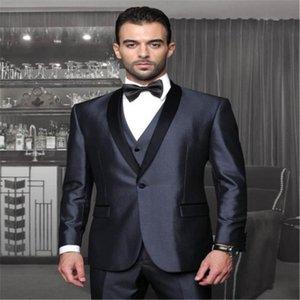 Мужские костюмы Blazers Новейшие пальто брюки дизайна сатинового жениха костюм для мужчин формальный платок отворотный блейзер пользовательских свадьбы смокинг 3