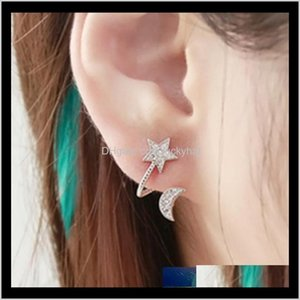 Ear Cuff High Quality Crystal Moon Star Clip Earrings Rhinestone Pentacle Pendant Love Female Pendientes Mujer Earcuff Anel Djcgf R4Nwl