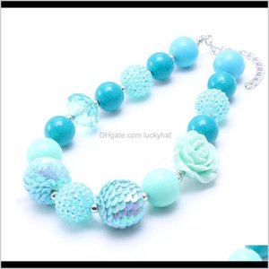 Necklaces Rose Flower Pendant Kid Teal Blue Color Toddlers Girls Bubblegum Bead Chunky Necklace Children Jewelry Lpbtc Hht0P