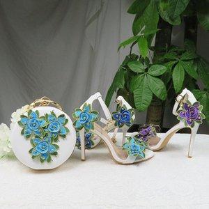 Цветочные свадебные туфли с подходящими мешками Высокие каблуки Открытый носок Braple Brap Летние сандалии обуви и сумка набор женщина