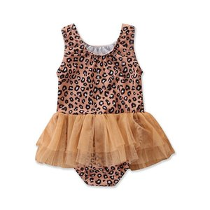 One-Pieces Kids Swimwear Suits Baby Swimming Girls Swimsuit Children Wear Lace Leopard 1-5T B4932