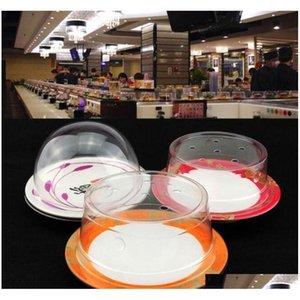 Cookware Parts Plastic Lid For Buffet Conveyor Belt Sushi Reusable Transparent Cake Dish Cover Restaurant Accessories Qw9918 Ele3R Xcsah