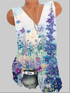 Fashion plus size Women T Shirt girl V neck sleeveless vest printing casual ladies top Drop