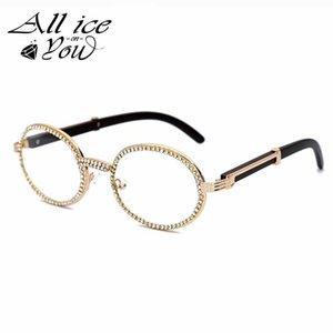 Vintage rodada gelada fora hip hop óculos de sol homens mulheres luxo de madeira de cristal de madeira punk óculos moda óculos quadros