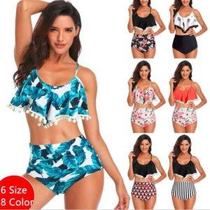 Yeni Kadınlar Seksi Mayo Bikini Seti Retro Floke Yüksek Beledilmiş Bikini Halter Boyun Iki Parçalı Mayo