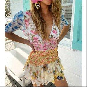 Womens Dress belted patchwork floral print mini for women asymmetric ruffled sexy party puff sleeve summer