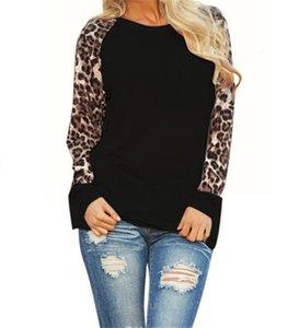 Women leopard sleeve chiffon raglans shirts big size long sleeve O-neck leopard printed fashion lady monogrammed plain pullover