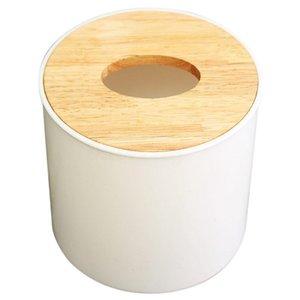 Tissue Boxes & Napkins Round White Home Room Car El Box Wooden Cover Paper Napkin Holder Case