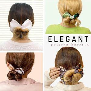 Women Knotted Deft Bun Print Hair Bands Rope Headband Summer Hairpin Braider Makers Fashion Fabric Braiding Tool free dhl J052