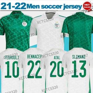 2021 Cezayir Ulus Takımı Futbol Forması Hayranları Ev Beyaz Uzakta Yeşil Mahrez Feghouli Bennacer Atal Erkekler + Çocuklar Maillot de Foot Setleri