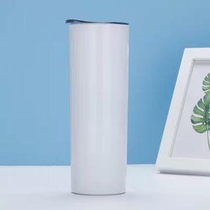 20 oz Skinny Skinny Tumblers vierge Sublimation Coupes Tasses à café avec couvercle et paille en plastique DIY Tumblers coniques CCA12674 Livraison sur la mer