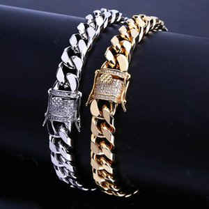 Link, Chain Hip Hop Gold Silver Color Miami Cuban Bracelets For Men Micro Pave Zircon Buckle Sturdy 10MM Thick Link Jewelry