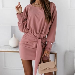 Casual Dresses 2021 Women's Summer And Autumn Fashion O Neck Temperament Buttocks Solid Color Woman Long Sleeved Bandage Mini