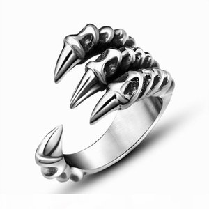 Punk Rock Stainless Steel Mens Rings Vintage Gothic Jewelry Silver Color Dragon Claw Ring Bijoux wholesale