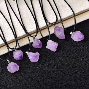 Toptan Doğal Ametist Kolye Ham Kristaller Reiki Şifa Taş Kaya Mineral Charm Erkekler Kadınlar Için Takı Gi Jllsom 976 Q2