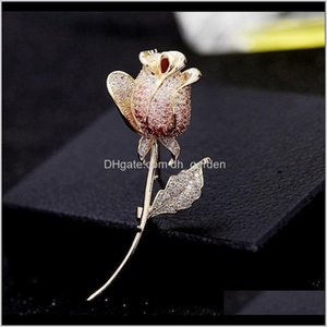 Pins Drop Delivery 2021 Full Diamond Rose Flower Brooches For Female Luxury Suit Cor Designer Brooch Pins Fashion Wedding Gold Jewelry Gb1Bd