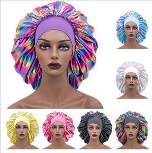 Laser Women Sleeping Caps Super Elastic Broadside Shower Cap Satin Nightcap Perm Hat Ladies Household Work Hats Hair Accessories