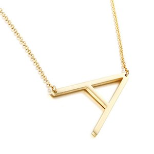 Fashion Large Initials Necklace titanium steel Letter Pendant Choker A-Z Women Modern Jewelry