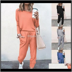 Other Home Garden Tracksuits Women Two Piece Pants Set Outfits Solid Color Long Sleeve Trousers Sports Suit Twopiece Plus Size Clothes Asbx9