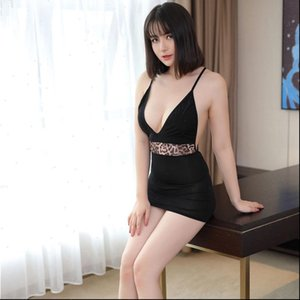 Women Dress Sexy Lace Up Backless See Through Micro MINI Ice Silk Smooth Transparent Leopard Deep V Neck F16