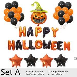 Halloween Balloon Aluminum Foil Balloons Set Party Pumpkin Bat Shape Helium Balloones Home Decoration Kid Toy HWB10427