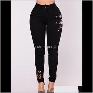 Donne Jeans Apparel Donne Stampa floreale Stampa floreale Sexy Sexy Slim Fashion Denim Long Pants Vestiti Streewear Skinny Dro nemyG