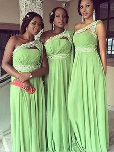 2021 Spring Sage Green Bridesmaids Dresses South African One shoulder Chiffon Lace Beads Empire Waist Prom Evening Party Dress