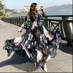 Womens Dress chiffon Peacock Print Long Sleeve maxi bohemia full plus size celebrity graduation Dinner Beach Sundress