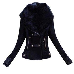 Winter Short Suede Leather Jacket Women Plus Size Female Motorcycle Biker Faux Fur Lined Coat Woman Windbreaker