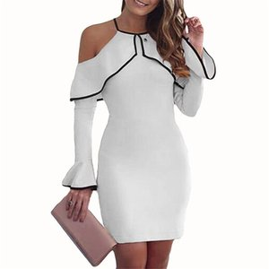 Fashion-feitong sexy women dress evening Womens Off Shoulder Mini Dress Ladies Party Stretch Party Evening Bodycon Dress 2019 #w35