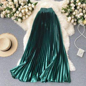 Croysier High Taille Long Long Jupes Pour femmes 2021 Maxi Jupe plissée Femme Vêtements Élégant Office Lady Mode Métallique Satin Metallic