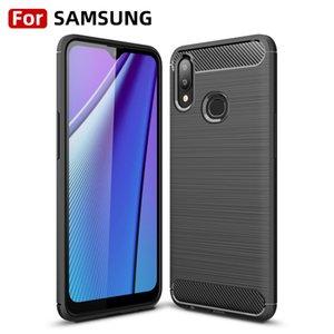 Cas de téléphone TPU de fibre de carbone pour Samsung A10 S M30 A40 A20 A60 A60-5G Silicone vertical Housse mobile