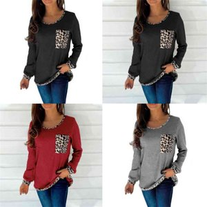 2021 Autumn Women's Long Sleeve T-shirts Fashion Round Neck Patchwork Leopard Print Ladies Sweater Shrits Outdoor Trendy Casual Clothes G93H2F7