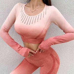 Ladies Tracksuits Long Shirts Sport Fitness Workout Gym Top Sports Wear For Women Push Up Running Full Sleeve Clothes