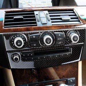 Car Styling Carbon Fiber Sticker Center Console AC CD Panel Decoration Frame Cover Trim Strip For BMW 5 series E60 2004-2010 Interior Auto Accessories