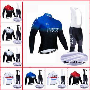 Ineos Team Cycling Vélo Thermique Thermique Jersey Bib Pants Sets Confortable Vêtements pour hommes à manches longues PRO Racing costune S21040914