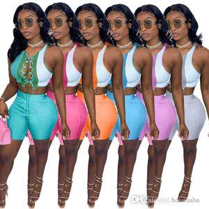 Mujeres 2 vestido de dos piezas conjunto de verano pantalones cortos de verano ropa sin mangas Falda sin mangas Sexy un hombro club nocturno desgaste cultivo Top Mini vestidos Traje 835