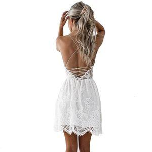 Anself Sexy White Women Spaghetti Strap Lace Mini Dress Deep V Backless Up Clubwear Club Party Beach Dresses1