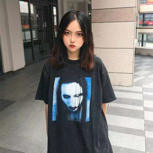 Vintage Wash make old female ghost short sleeve fog high street loose style trendy brand t-shirt men's and women's alike
