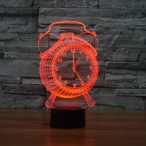 Clock 3D Night Light ,Touch 7 Colors Change, Optical Illusion LED Lamp USB Table Desk Lighting Kids Toy Bedroom Decor Xmas Holidays Birthday Gifts Boy Girl