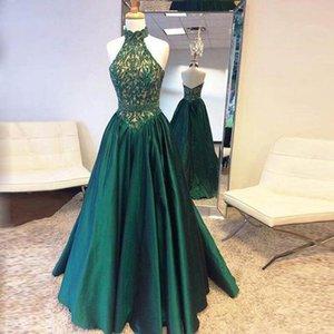 Платья для вечеринок Великолепная A-Line Halter выпускные платья выпускного вечера Изумрудные зеленые без рукавов кружева блестки африканские формальные женщины длинные 2021