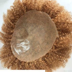 Light Brown Afro Curly Toupee Full Lace Hair Unprocessed Brazilian Human Hair Afro Kinky Curly Lace Toupee for Black Men